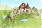 Croquis Ossau ouest. 1993, Encres et crayons de couleurs, format A5