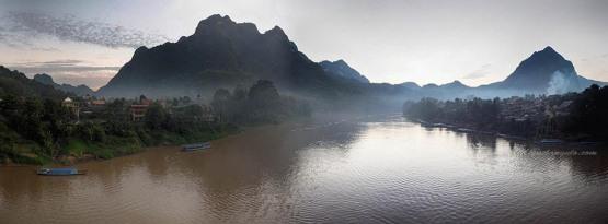 Nong Khiaw sur les bords de la Nam Ou (Laos)
